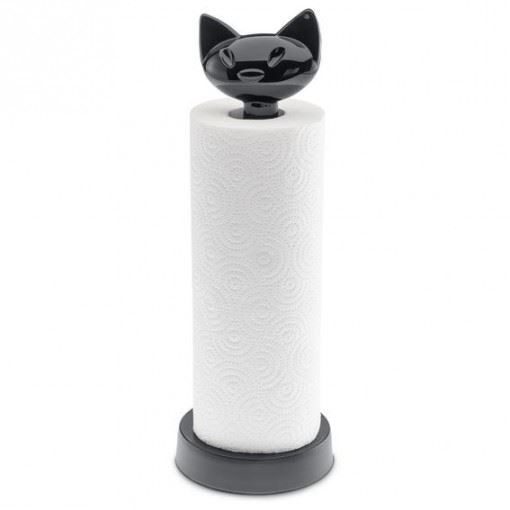 Soporte papel gato negro
