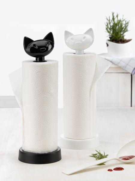 Soporte rollos de cocina gato negro Koziol