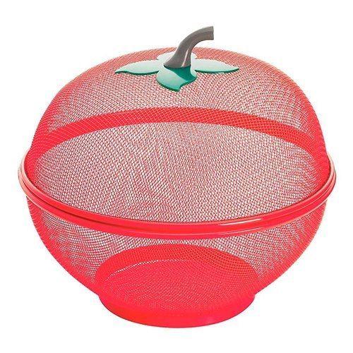 Frutero rojo con tapa imita manzana