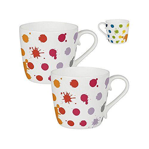Taza de porcelana con lunares de colores