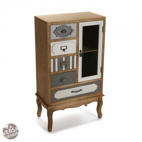 Mueble de madera cajones y vitrina