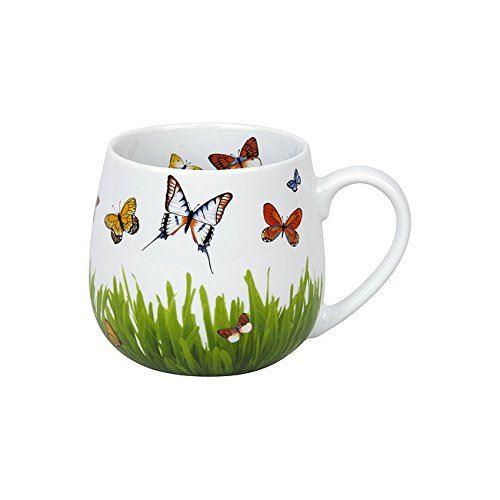 Taza con mariposas de colores