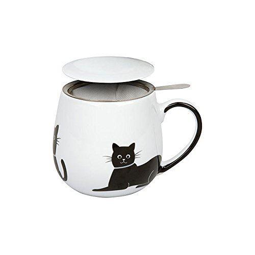 Taza para infusiones con foto de gato negro