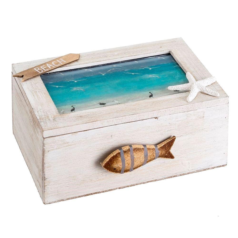 imagen de Caja madera pez y estrella de mar
