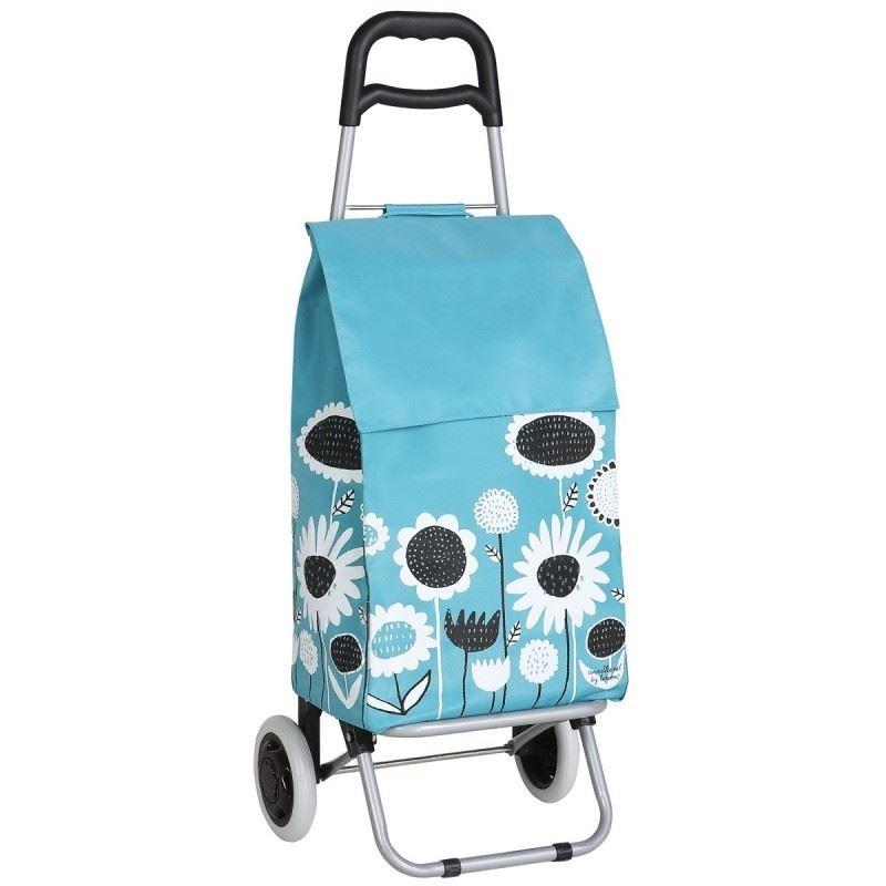 Carro compra flores azul