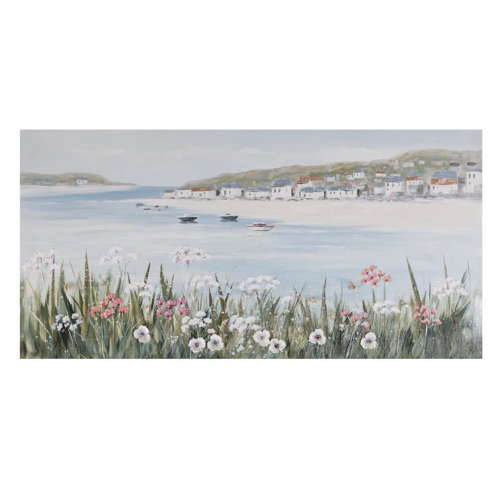 Cuadro lienzo al óleo paisaje playa y mar pintado a mano