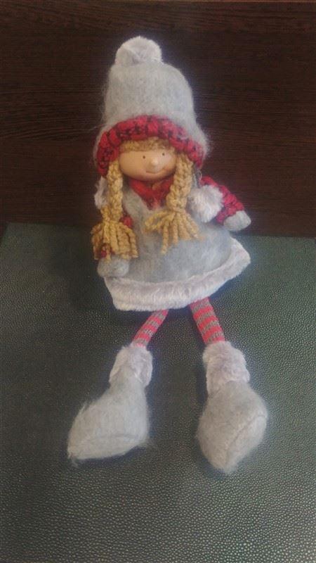 niña muñeca navidad trapo tejido gorro