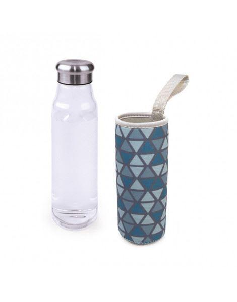 Botella de cristal con funda de neopreno de Iris