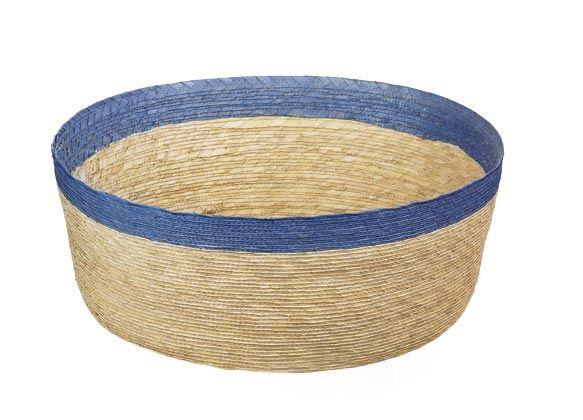 Cesta panera en fibra natural y borde en azul
